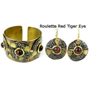 Jewelry - Roulette Red Tiger Eye Brass